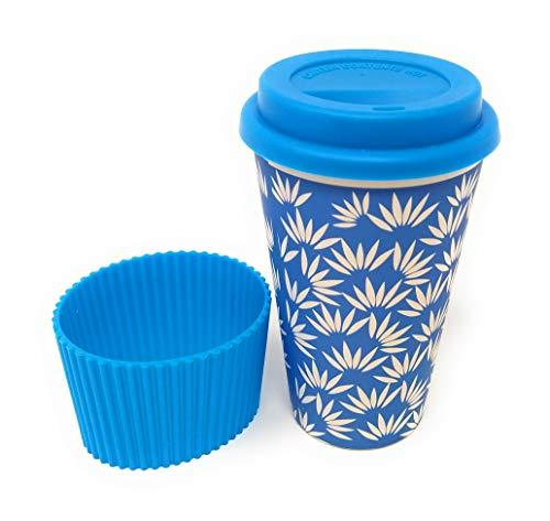Kucly Kaffeebecher mit Thermodeckel und schönem Design / wiederverwendbar / Eco-Friendly (Bambus) / rutschfester Griff (Azul Blume)