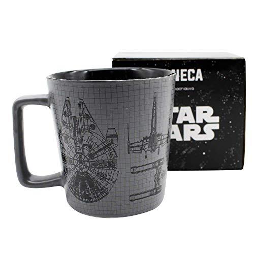 Caneca Star Wars Esquema Naves Porcelana 400ml Zona Criativa