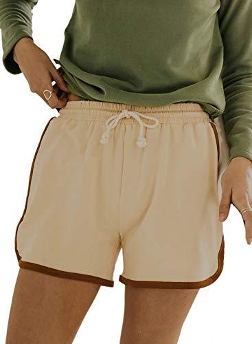CORAFRITZ Pantalones cortos casuales de verano para mujer, cintura elástica, yoga, deporte, fitness, pantalones cortos