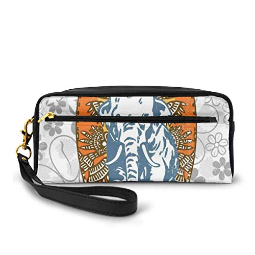 Pencil Case Pen Bag Pouch Stationary,Surfboards and Elephant Floral Background Aloha Advertising Athlete Sport,Small Makeup Bag Coin Purse