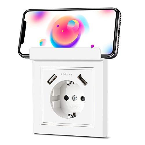 Steckdose mit USB Schuko Steckdose mit Handyhalter 2.8A USB Anschluss Schutzkontakt Wandsteckdose Unterputz Ladegerät für Mobile Geräte (Smartphone, Tablette, MP3, etc.)