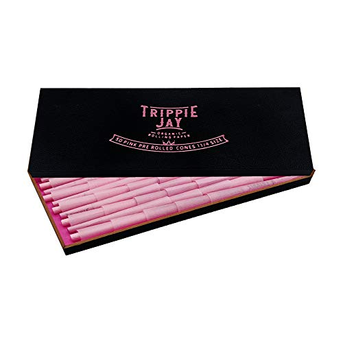 Trippie Jay Pink 1 1/4 Size Pre Rolled Cones in a Wooden Box | 50 Pack | Vegan & Non GMO | Includes 10 Packing Sticks…