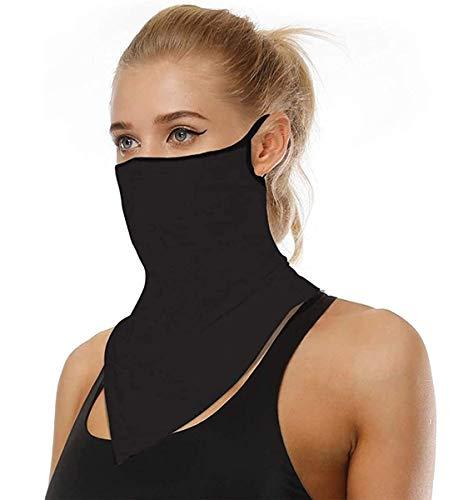 Face Mask Reusable Washable Cloth Bandanas Women Men Neck Gaiter Cover Ear Loops for Dust black