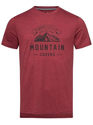 super.natural Herren Kurzarm T-Shirt, Mit Merinowolle, M GRAPHIC TEE, Größe: L, Farbe: Bordeaux meliert/Dunkelgrau