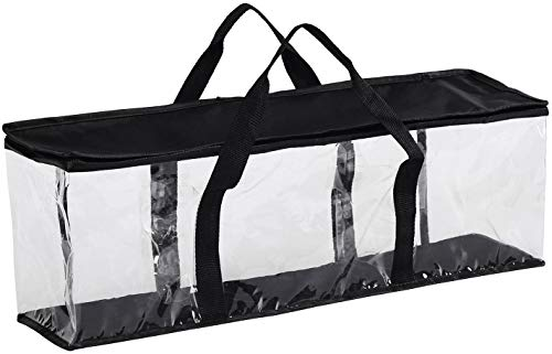 Clear Media Storage Bag Compatible with DVDs, Blu-Rays, Video Game Cases, VHS (40 DVD Capacity) with Dividers (Black, 1)