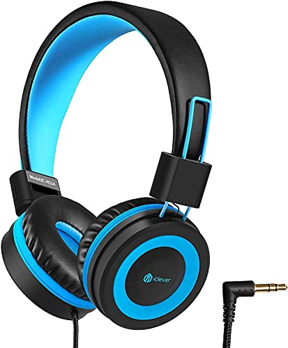 iClever HS14 Kids Headphones with 85dB Volume Limited for Boys Girls Over Ear,Stereo Sound, Soft Earmuffs,Long wires, 3.5mm Jack, Foldable Children Headphones on Ear for School Study/Daily Use(No mic)