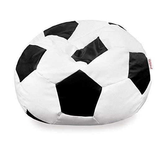 Italpouf - Puf de fútbol de Piel sintética Negra Grande, puf Saco ecopiel balón XL XXL, puf balón Blanco-Negro, sillón Saco fútbol