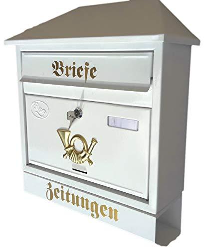 R&D Großer Briefkasten/Postkasten XXL Weiß mit Zeitungsrolle Schrägdach Trapezdach