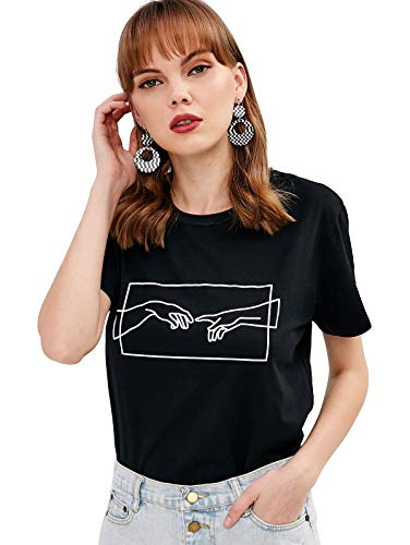 ZAFUL Damen Kurzarm Jersey T-Shirt mit Druckmuster Rundhalsausschnitt für Sommer (Schwarz, M)
