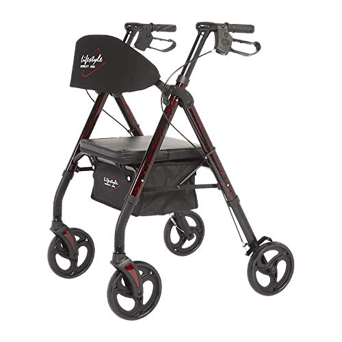 Lifestyle Mobility Aids Royal Deluxe Universal Aluminum 4 Wheel Rollators (Laser Red)