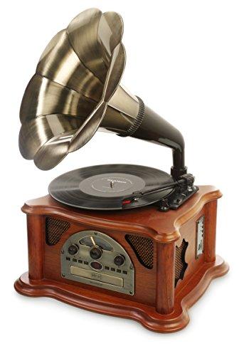 Ricatech RMC350 Legend Music Centre 5 en 1 con trompeta vintage | Tocadisco de 3 velocidades y altavoces incorporados, reproductor de CD, ranura USB y SD, radio AM/FM y Line-In entrada para otros dispositivos de audio