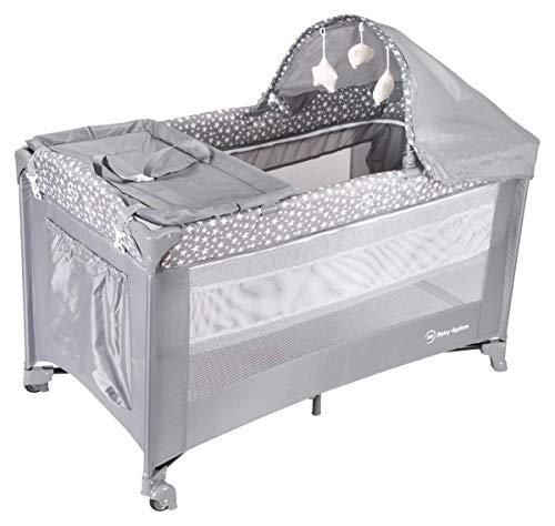 Moby System 2 in 1 - Lettino Da Viaggio e Box Gioco Per Neonati y Bambini Con Materasso | Doppia Altezza ( Alto 0 - 6 mesi, Basso 6 - 36 mesi ), Pieghevole, Borsa Per il Transporto (Grigio)