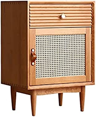 KXA Living Room Hallway Rattan Storage Cabinet Nordic Home Furniture Bedroom Bedside Cabinets Hotel Apartment Solid Wood Nigh