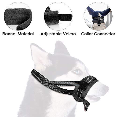 SlowTon Bozal para Perros, Lazo Ajustable, Acolchado Suave de Franela, bozales cómodos, Transpirables y Seguros de Ajuste rápido para Perros pequeños Masticar y ladrar (L, Negro)