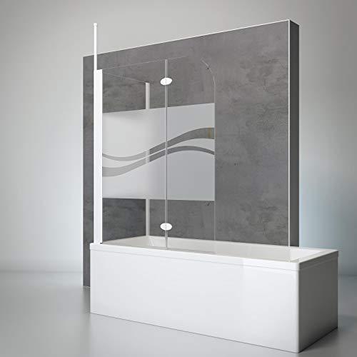 Schulte Duschwand mit Seitenwand, 116 x 140 x 70 cm, 2-teilig faltbar, 5 mm Sicherheits-Glas Dekor Liane, Profilfarbe alpin-weiß, Duschabtrennung für Badewanne