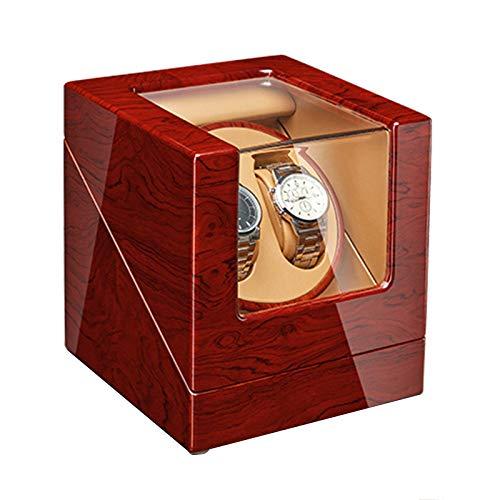 AYYEBO Automático Caja Bobinas Doble Reloj Un Lujoso Estuche Madera 5 Modo Rotación Adaptador CA y Batería (Color : D)