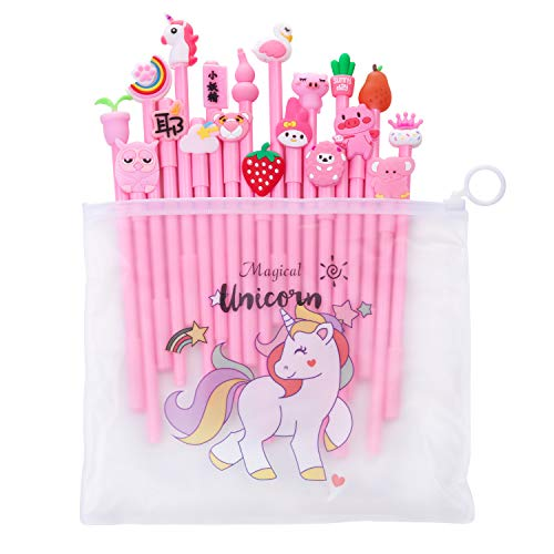 Pluma gel unicornio,Comius Sharp 20 Piezas Bolígrafos de unicornio para niñas, regalo de cumpleaños escolar,0.5 mm Fine Point Pen Tinta negra Pluma para escuela oficina suministros. (Rosa)