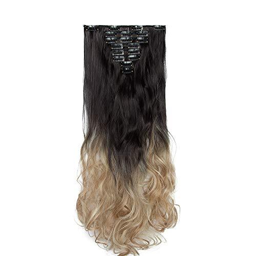 Extension Clip Capelli Ricci Mossi Shatush - 8 Fasce Extensions Sintetiche con Clips Posticci Ondulati Hair Lunghi 60cm Full Head Effetto Naturale - N