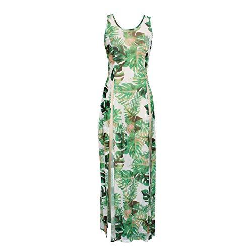 Pareo de Bikini para Mujer Cover Up para Playa Estampado Floral Vestido Largo Estilo Bohemio Vestido Transparente Abierta Lateral para Verano (Verde, S)