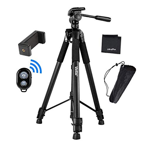 UltraPro 72' Inch Black Heavy-Duty Camera Tripod with Universal Smartphone Mount + Bluetooth Remote Control Camera Shutter for All Smartphones, Includes UltraPro Microfiber Cleaning Cloth