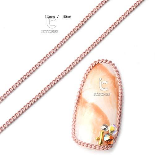 ICYCHEER Chaîne de 50 cm pour nail art, 12 couleurs, style macaron, punk, métal, décoration d'ongles, manucure 3D, vernis gel UV, accessoire de bricolage (02)
