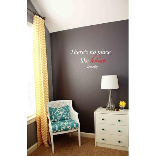 Wheeler3Designs There 's No Place Like Home Wizard of Oz Zitat 26x 12Wand Sagen Zitat Vinyl Decal- Wizard of Oz Eltern weiß/rot
