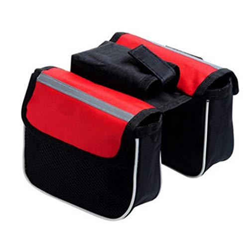 R1vceixowwi - Bolsa para sillín de bicicleta (rectangular, 3 en 1, impermeable, gran capacidad), rojo