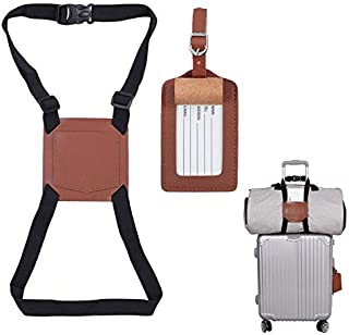 Bag Strap, Genuine Leather Add A Bag Travel Accessories with Name Tag,No Bungee,Brown (Set of 2 )