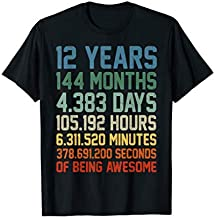 Vintage 12th Birthday Shirt Gift 12 Years Old Being Awesome T-Shirt