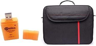 Datazone Black Shoulder Laptop Bag size 15.6 With USB Momery Card Reader, Blue