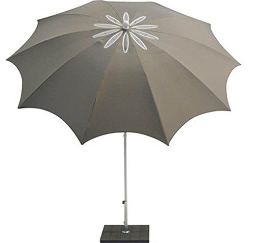 PEGANE Parasol centré en Polyester Coloris Taupe - Dim : Ø 200/10 x H 250 cm