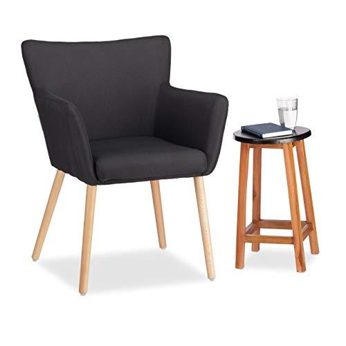 Relaxdays Gestoffeerde stoel design, stoffen bekleding, zacht gevoerd, comfortabel, gezellig, fauteuil, HxBxD: 84 x 62 x 56 cm, zwart
