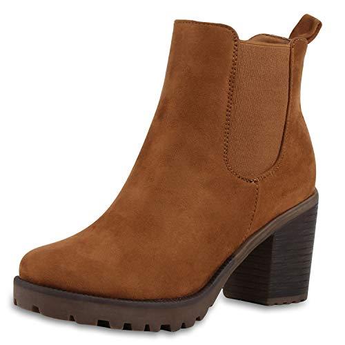SCARPE VITA Damen Stiefeletten Chelsea Boots Profilsohle Blockabsatz Schuhe 172787 Hellbraun Brown 39