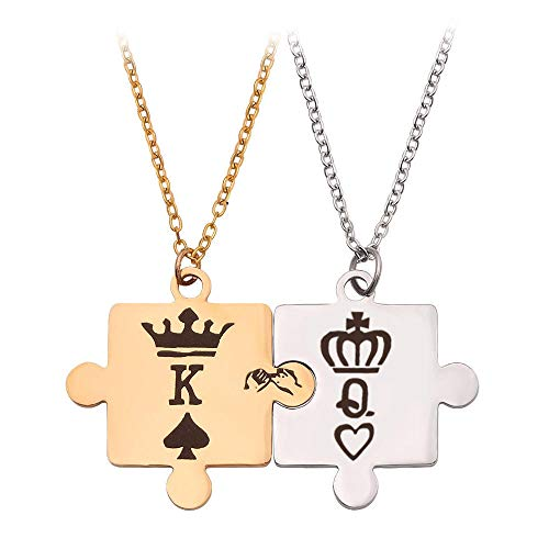 Anhänger Halskette Schmuck 2 Stück König Und Königin Herren Damen Paare Halskette Anhänger Edelstahl Liebesschmuck Gold Silber Farbe Charm Chain