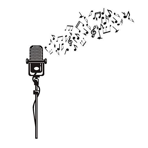 JXAA DIY Muziekinstrumenten Microfoon Vinyl Muursticker Meisjes Slaapkamer Decor, Instrument Patroon Muursticker Baby Meisjes Kamerdecoratie 57cm X 109cm