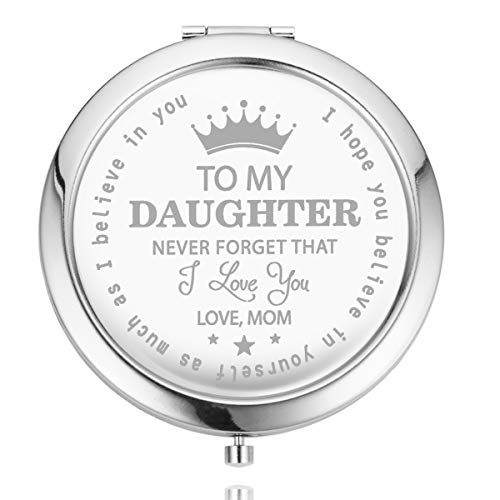 UOIPENGYI to My Daughter Mirror Gift Birthday Gifts Ideas for Daughter, Graduation Present for Her, Purse Pocket Makeup Mirror Never Forget That I Love You Keepsake (to My Daughter)