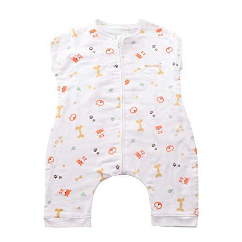 SXSHUN Baby Musselin Sommerschlafsack Schlafsack Baumwolle Ärmellos Babyschlafsack für Neugeborene, Vierblättriges Kleeblatt + Hund, 80 (Empfohlene Höhe=80-90cm)