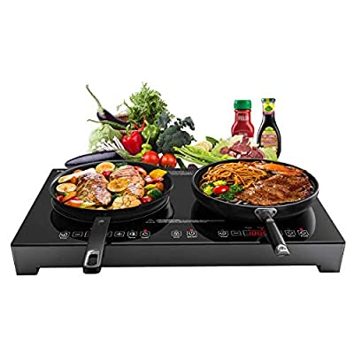 Sandoo Induction Cooktop,1800W Double Burners Electric Stove,6 Power/Temp Levels Countertop Burner with Legs, Tempered Glasstop Induction Cooker w/Safety Lock,for Cast Iron, Stainless Steel Pan HA1911