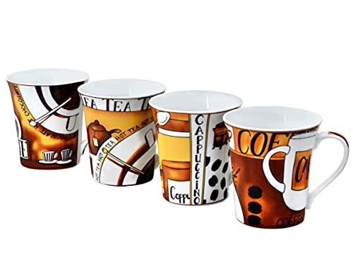 Fischer Bamberg by Retsch Arzberg/Kaffeebecher Set 4teilig KAFFEETHEMA /Porzellan/dekoriert Inhalt ca. 390 ml/konisch ausgestellte Form/4 Dekore im Set