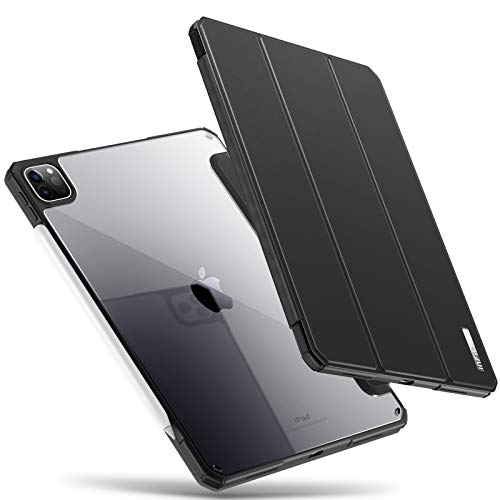 INFILAND iPad Pro 11 Case, Shockproof Ultra Slim Rugged Protective Case W/Transparent Back for iPad Pro 11 2020/ iPad Pro 11 2018 [Support 2nd Gen Apple Pencil Wireless Charging], Black