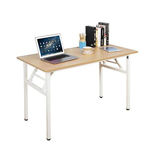 Need Klapptisch Computertisch Schreibtisch Klassischer Klappbarer Tisch 120CM aus Holzwerkstoffen und Metallframe,Konferenztische,PC Tisch Bürotisch Esstisch für Zuhause und Büro,120 * 60CM,AC5AW