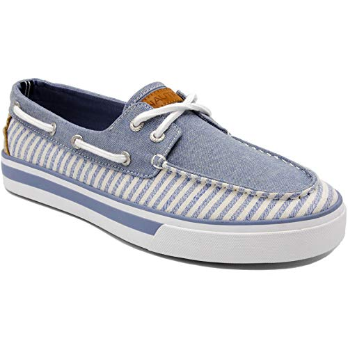 Nautica Men's Galley Lace-Up Boat Shoe,Two-Eyelet Casual Loafer, Fashion Sneaker-Blue Stripe-9.5