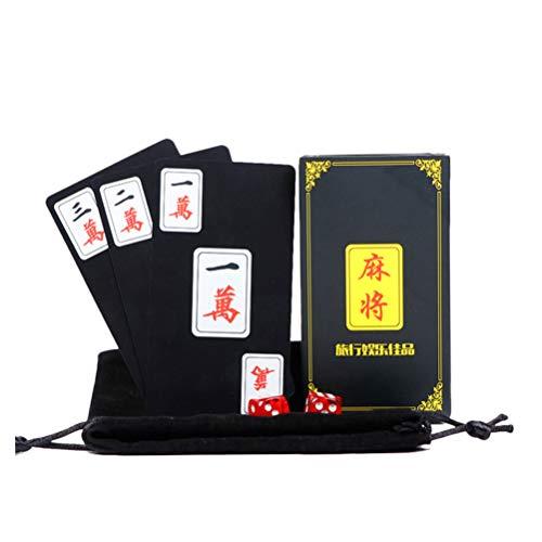 HEALLILY 1 Satz Chinesisches Mahjong-Kartenspiel Traditionelles Tragbares Mahjong-Reisespielspielset-Zubehör