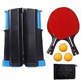 LULIKE Upgrade Retractable Ping Pong, 1 Ping Pong Retractable Net, 2 Wooden Ping Pong Paddle, 3-Star Ping Pong...