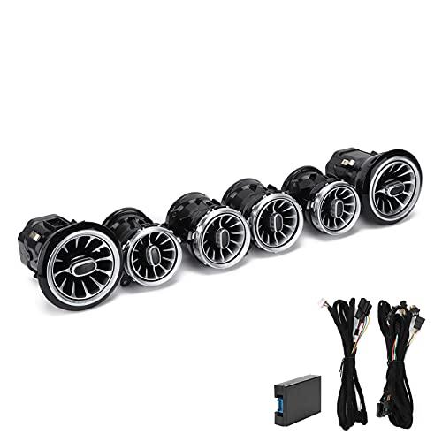Aramox 6 Stks ABS & PC 64 Kleur Front LED Turbine Air Vent Omgevingslicht, Front Turbine Outlet Turbo Sfeer Licht Kit…