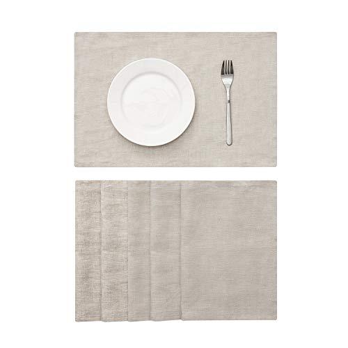 DAPU Tischset aus reinem Leinen 100% French Flax 6 Packs (Naturleinen, 30 cm x 46 cm)