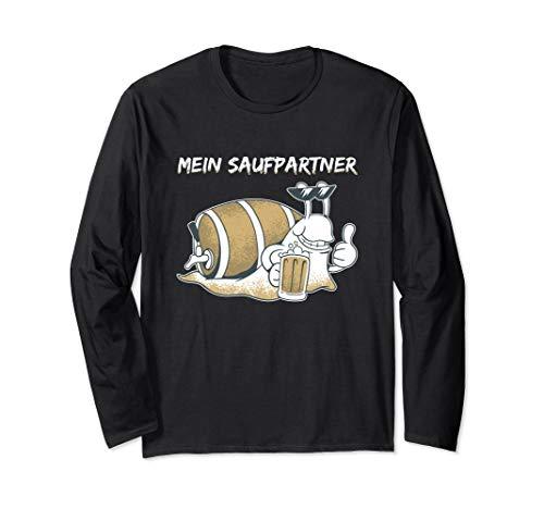 Mein Saufpartner Schnecke Bier Spruch Geschenk Männer Frauen Langarmshirt