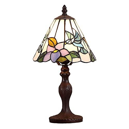 Wzglod Tiffany Lámpara de Mesa de vidrieras Lámpara de Noche Base de metal15 Pulgadas Lámpara de Cristal de Estilo Retro Lámpara de Lectura de la lámpara