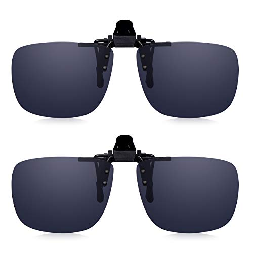 Clip-On Sunglasses -- Polarized UV-400 Anti-Glare Sun Lenses: Read Optics Mens/Ladies Flip-Up Glasses with Tough, Shatter-Proof Grey Rayguard Lens....