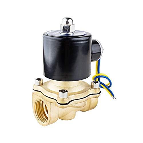YeVhear DC 12V 2W200-20 BSP 3/4 pulgadas normalmente cerrado 2 vías N/C válvula de latón para carburantes de agua Air gas